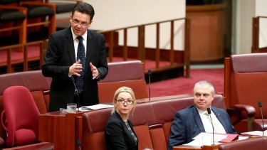 Senator Nick Xenophon in the Senate with Skye Kakoschke-Moore and Stirling Griff.