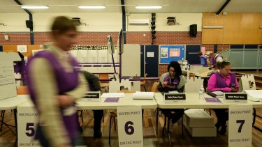 Australian Electoral Commission staff at Blacktown on July 2.