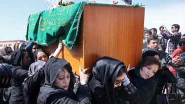 Women carry the coffin of 27-year-old Farkhunda during her funeral in Kabul.