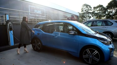The charge point at BMW in Mulgrave for The BMW i3 electric car.