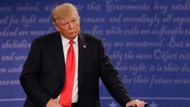 Intense scrutiny: Donald Trump at the second presidential debate.