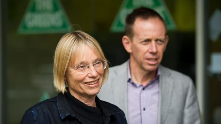 Greens Party member Caroline Le Couteur and Greens Party Leader Shane Rattenbury on Saturday after the final results were tallied.