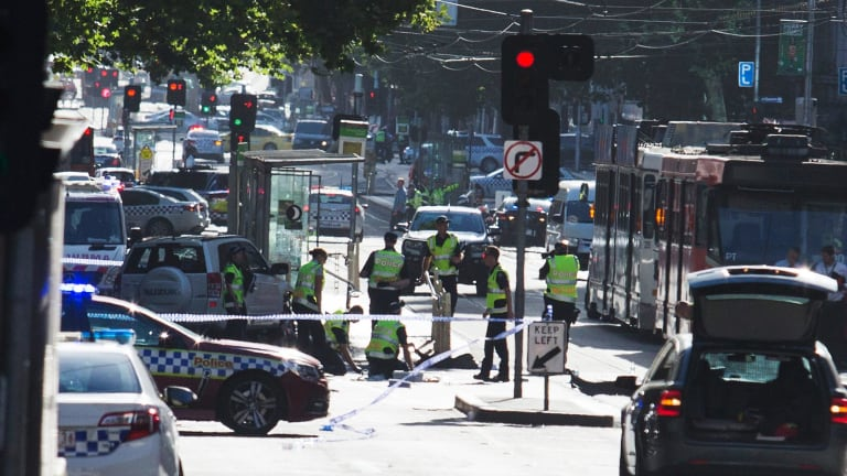 One person died after a car ran into pedestrians on the corner of Flinders and Elizabeth streets last month.