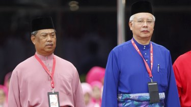 Najib Razak (right) with his then deputy Muhyiddin Yassin, who was recently dropped over criticisms of the PM's handling of swirling corruption claims.