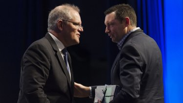 Treasurer Scott Morrison with the Australian Christian Lobby's Lyle Shelton.