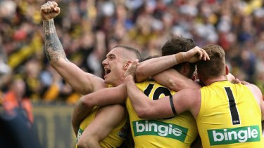 Dustin Martin and the Tigers celebrate on the siren.