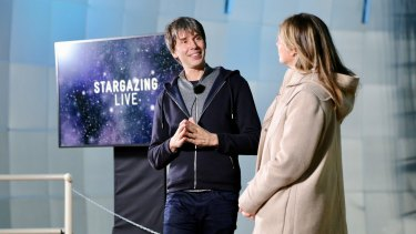 Professor Brian Cox (left) rehearsing with Julia Zemiro for ABC's Stargazing Live at Siding Spring observatory near Coonabarabran.