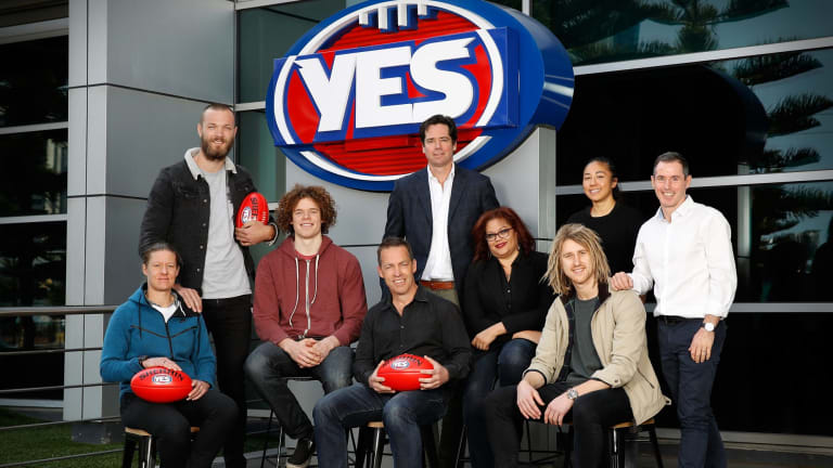 Supporting the yes campaign: Meg Hutchins, Max Gawn, Ben Brown, Alastair Clarkson, Gillon McLachlan, Tanya Hosch, Dyson Heppell, Darcy Vescio and Hayden Kennedy.