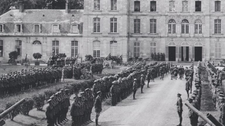 The arrival of King George V at Lieutenant-General Sir John Monash's headquarters at Bertangles for the knighting of Monash.