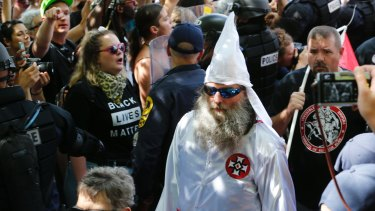 Members of the KKK at the Charlottesville white supremacist rally.