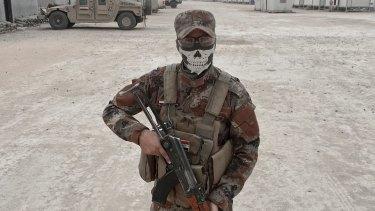 Iraqi army soldier Loay Mahdi, from Kirkuk, at the Qayara West Coalition base some 50 kilometers south of Mosul.
