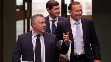 Treasurer Joe Hockey, with Prime Minister Tony Abbott and and Social Services Minister Kevin Andrews has defended the system of political donations.