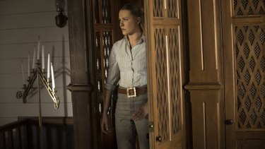 Dolores (Evan Rachel Wood) in her confession box that actually led to the secret bunker where Bernard murdered Theresa Cullen.