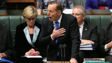 Prime Minister Tony Abbott during question time on August 18.