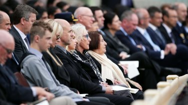 A crowd, including Betty Cuthbert's twin sister Marie, attend her state memorial service at the SCG.