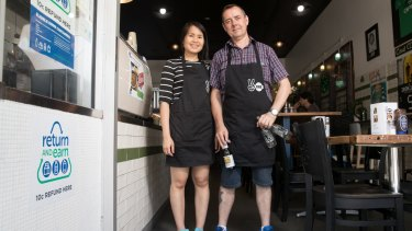 Martin McCleave and Bee Seesong from Two Ones Cafe in Randwick will be among the collection points for the new scheme.