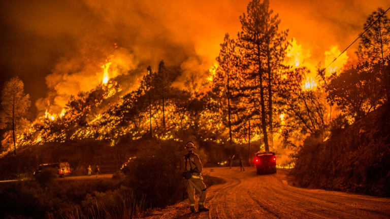 Crews run controlled burnings to contain a wildfire in Sheep Ranch, California earlier this year.