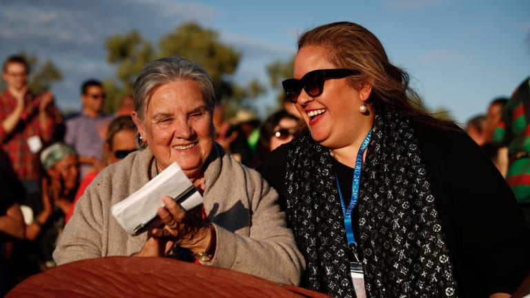 Pat Anderson and Megan Davis during the closing ceremony in the Mutitjulu community of the First Nations National Convention held in Uluru in May.