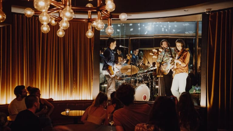 Live music at the Golden Age Cinema bar.