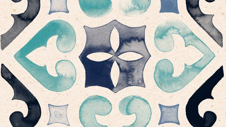 Spanish tile no. 4 in Azul (set of four), $22.