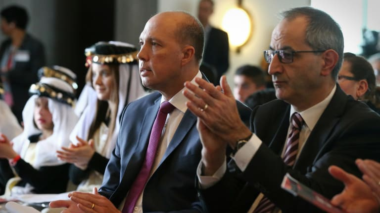 Immigration Minister Peter Dutton with his department secretary Michael Pezzullo in Parliament House last month.