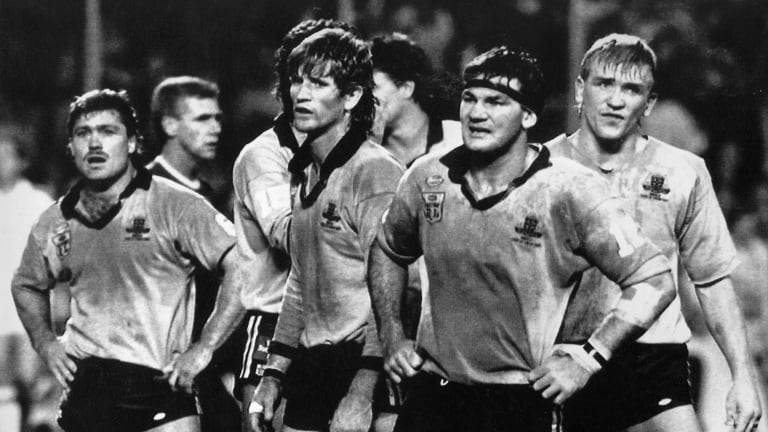 Terry Lamb, Des Hasler, Gavin Miller and Garry Jack in the midst of a 36-6 defeat at Lang Park in 1989.