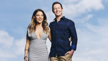Former 2DAY FM breakfast team Sam Frost and  Rove McManus.