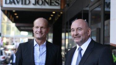 Outgoing David Jones CEO Iain Nairn (left) and Woolworths CEO Ian Moir.