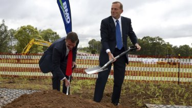 """Former prime minister Tony Abbott, pictured with NSW Premier Mike Baird, wished to be remembered as the """"infrastructure prime minister""""."""