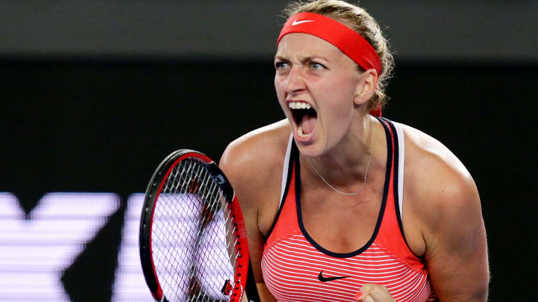 Long comeback: Petra Kvitova at the 2016 Australian Open.
