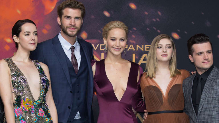 Wrapping up the series ... (from left) Jena Malone, Liam Hemsworth, Jennifer Lawrence, Willow Shields and Josh Hutcherson at the world premiere of <i>Mockingjay - Part 2</i>.