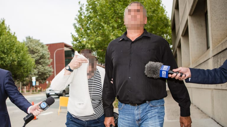 Family and friends leave Queanbeyan police station on Saturday.