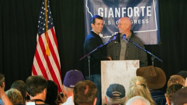 Republican Greg Gianforte campaigning with Donald Trump Jr in Montana.