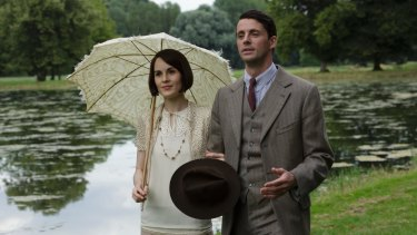 Dockery as Lady Mary with new husband Henry Talbot (Matthew Goode) in Downton's final season.