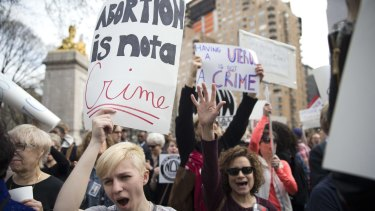 Women rally in New York in March to support abortion.