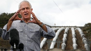 The Prime Minister at his pet project to expand the Snowy Hydro scheme.
