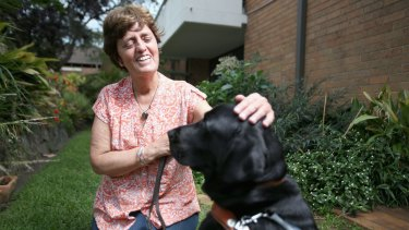 Gisele Mesnage and her guide dog, D'Artagnan.
