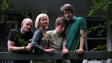 Sally Richards and sons Tim, Jackson and Duncan West.