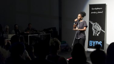 Ana Paz performing at a recent Bankstown Poetry Slam. The event is run by Bankstown Youth Development Service, who have received funding as part of the NSW Government's community cohesion package.