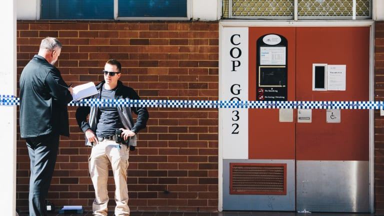 Scenes at the ANU after a man was arrested after allegedly attacking several people with a baseball bat in the Copland building.
