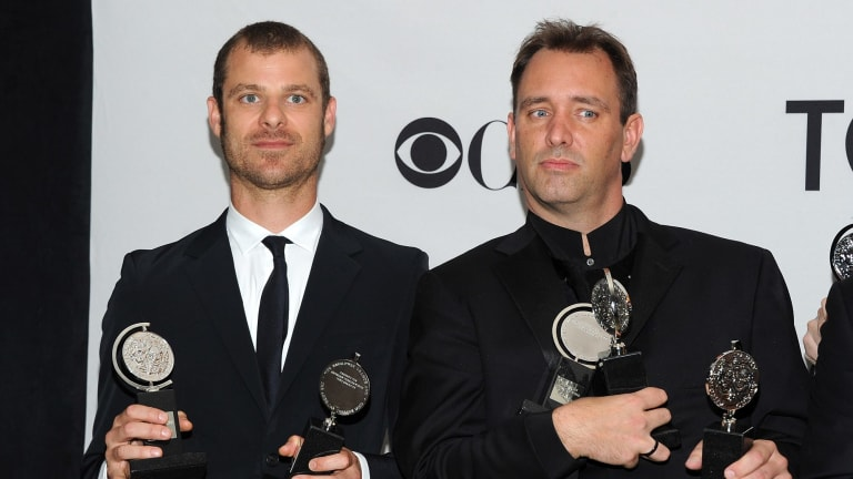 Matt Stone, left, and Trey Parker's mega-hit musical, The Book of Mormon, has broken records in Melbourne a year before it opens.