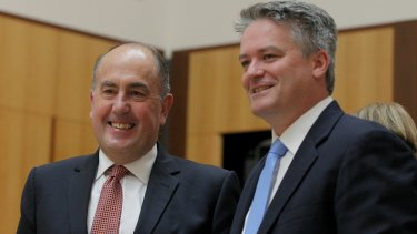 Treasury secretary John Fraser and Finance Minister Senator Mathias Cormann during a Senate  estimates on Wednesday.