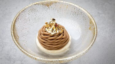 Mont blanc made with roasted artichoke caramel, Italian meringue, crushed savoiardi biscuits and salted Chantilly.