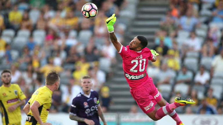 Flying high: Paul Izzo saves against Perth Glory at Central Coast Stadium.