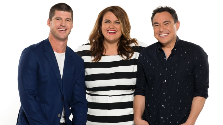 Sam Pang, right, was named best newcomer for his work on Nova's Melbourne breakfast show, <i>Chrissie, Sam & Browny</i>.