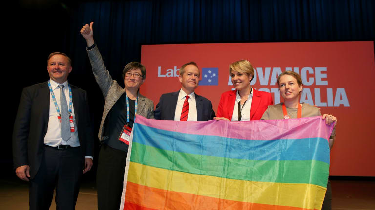 Senator Wong with Labor colleagues Anthony Albanese, Bill Shorten, Tanya Plibersek and former ALP senator  Louise Pratt at the party's national conference last year.