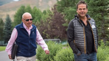 Rupert and Lachlan Murdoch. Lachlan is co-chairman of News Corp, which owns 70 per cent of Australia's newspapers and half of Foxtel. His investment company, Illyria, owns the Nova radio network.