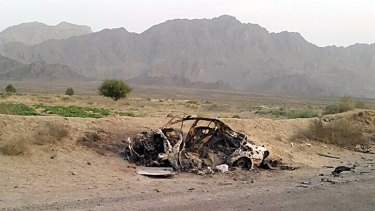 A photograph said to show the scene of the attack on Mullah Akhtar Mansour's car.