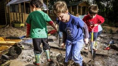Fun in the mud at East Burwood Preschool.