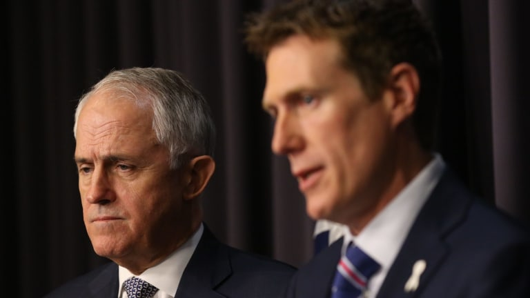 Prime Minister Malcolm Turnbull with Social Services Minister Christian Porter.